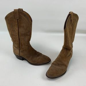 Tony Lama Western Boots Cowboy Leather Suede